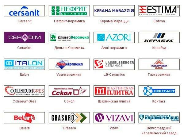 Основные российские производители плитки